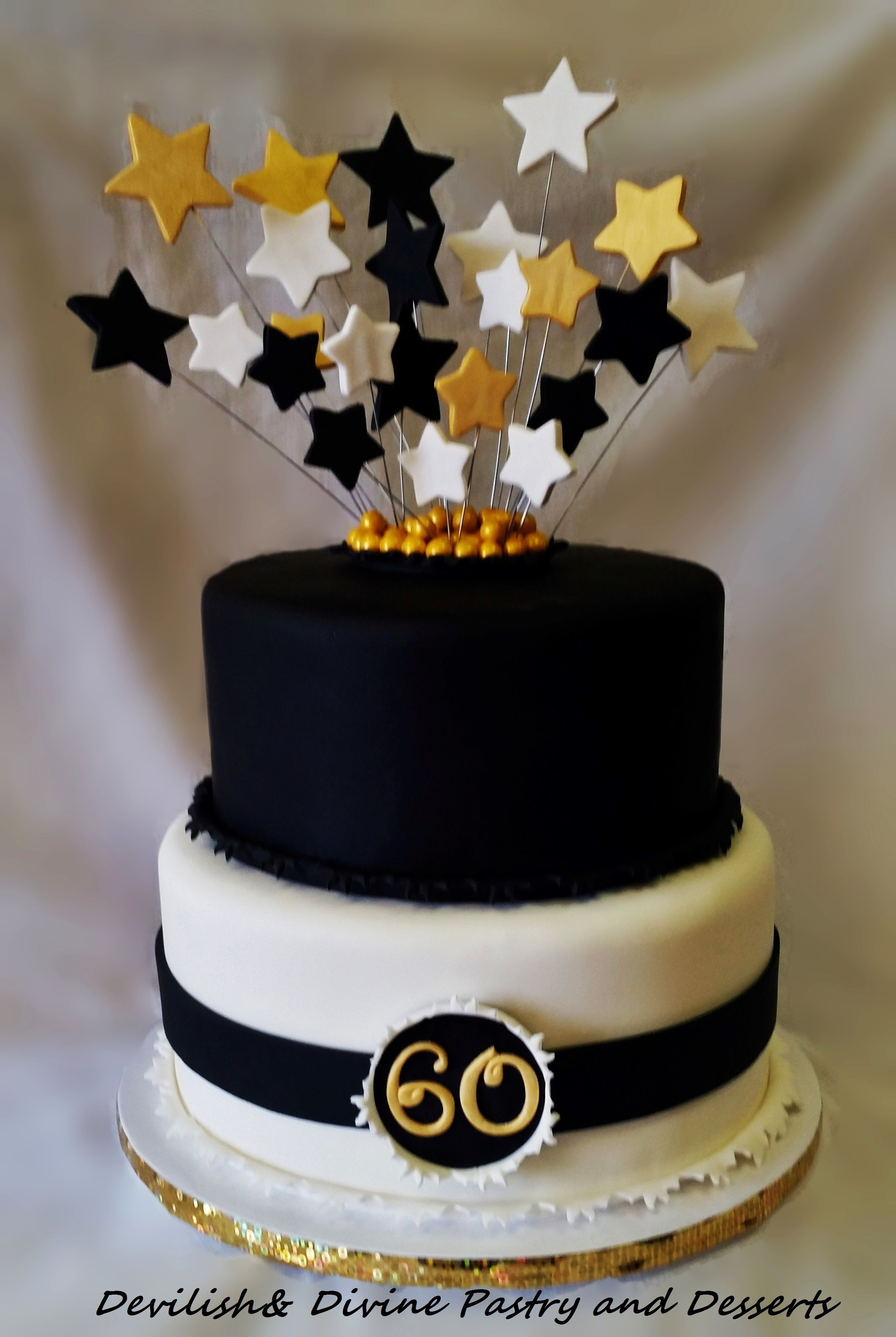 Black White And Gold 60th Birthday Cake