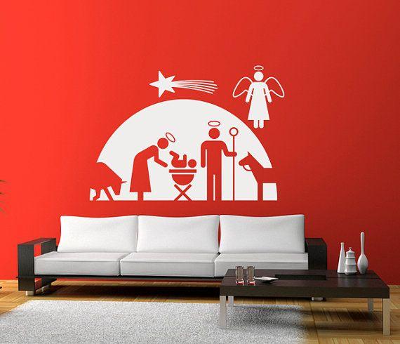 nativity scene wall decal, vinyl sticker, home artwork, holiday