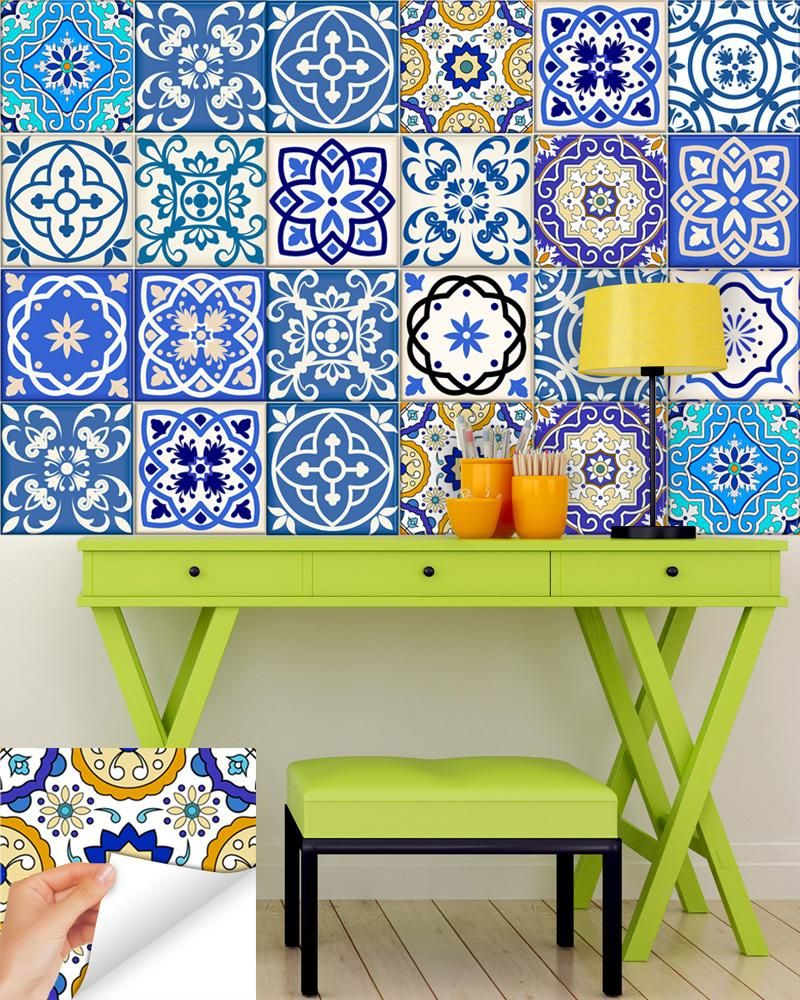 Stunning and colorful, Tile stickers: Set of 24 removable high ...