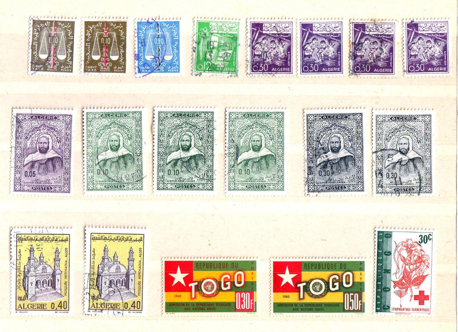 Briefmarken EINZELWERTE A F R I K A ALGERIEN TOGO GUINEA SüD AFRIKAsparen25