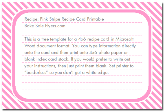 Free 4 6 Recipe Card Template Bake Sale Flyers Free Flyer Designs Recipe Cards Template Postcard Template Printable Recipe Cards