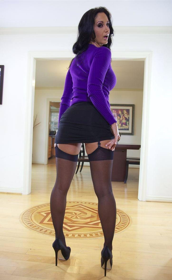 Short Black Skirt Purple Top Sheer Black Stockings With ...