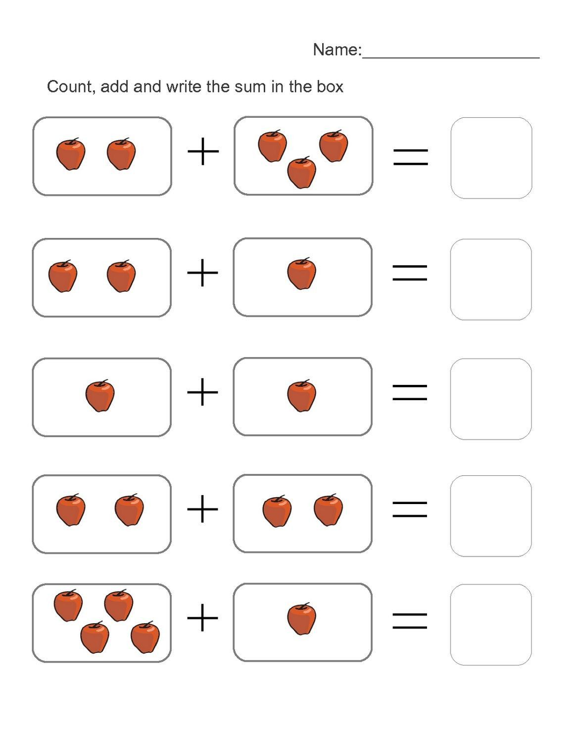 5 Count The Fruit Addition Worksheets 4 Year Old