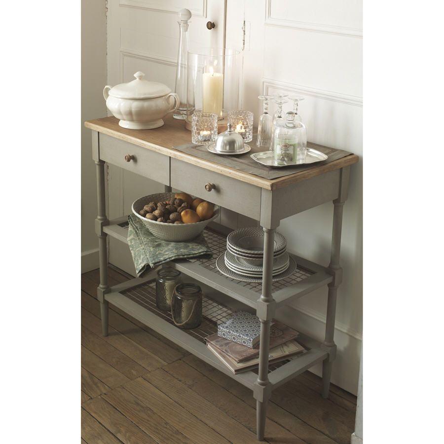 console en bois patin villiers comptoir de famille 2 tag res 2 tiroirs plateau bois massif. Black Bedroom Furniture Sets. Home Design Ideas