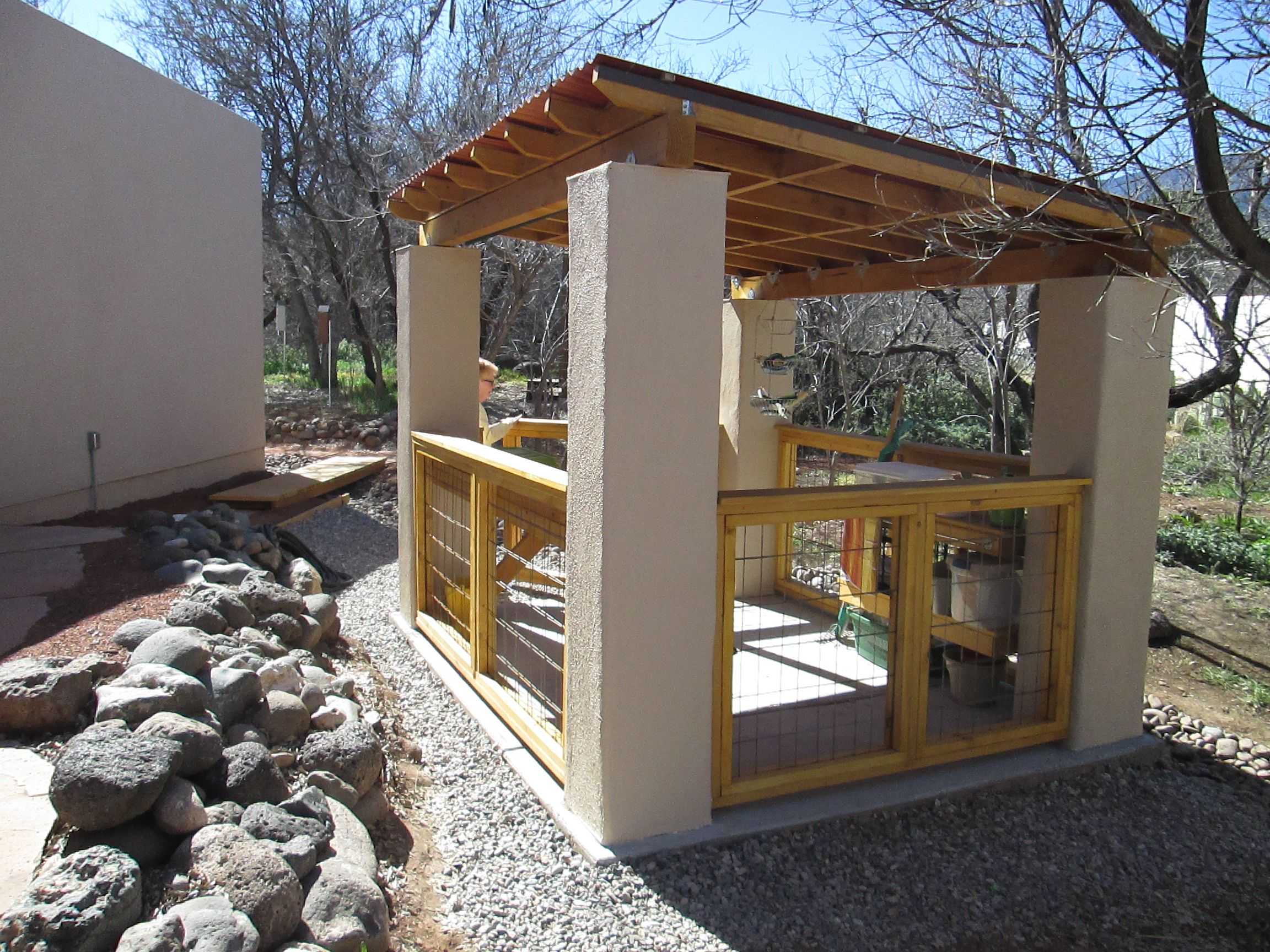 i designed and built this open concept garden shed for my wife the stucco support