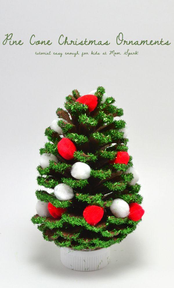 Pine cone christmas ornaments christmas pine cones pine for How to make pine cone christmas tree ornaments