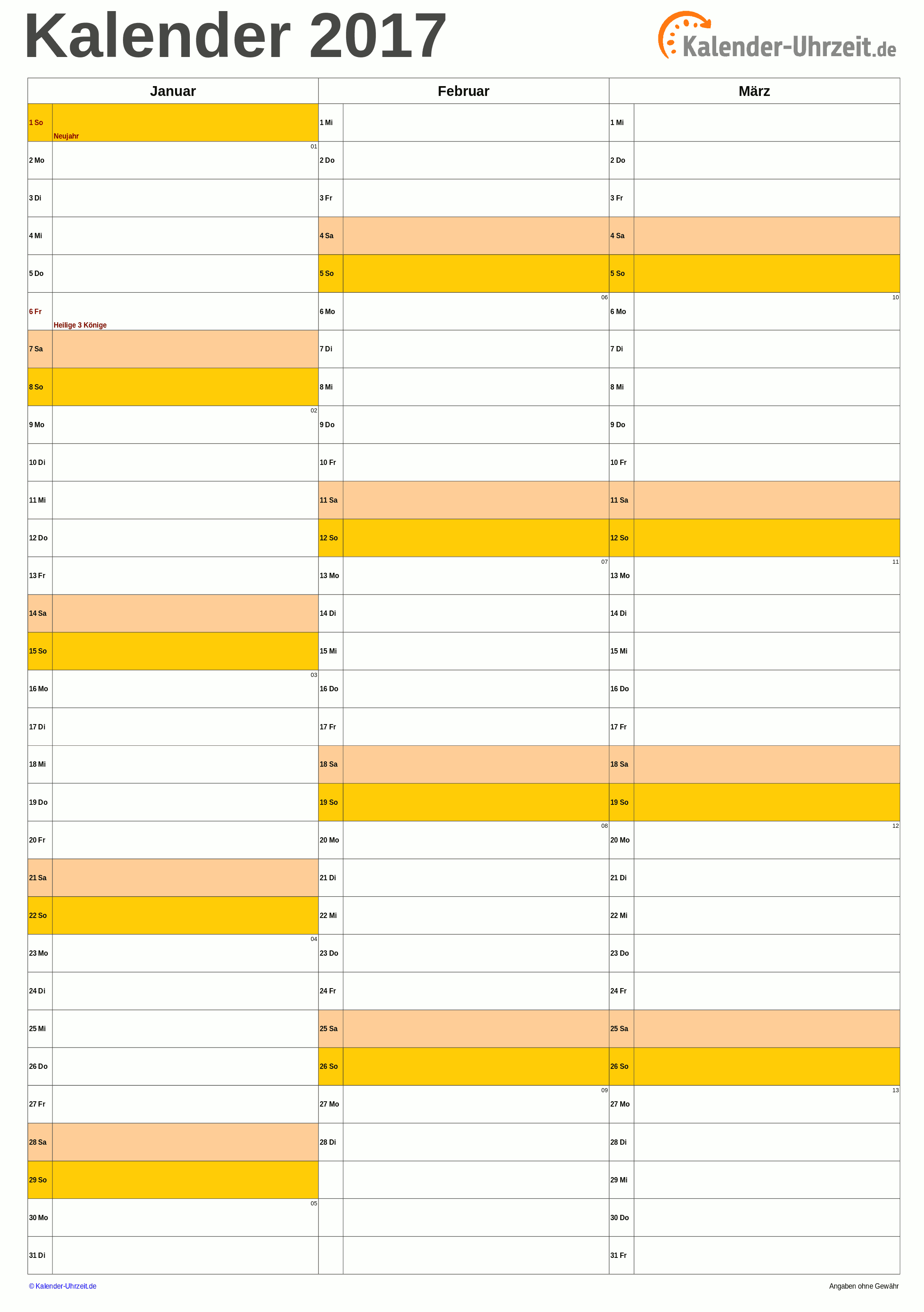 Quartalskalender 2017 A4-Hochformat. #KalUhr Weitere Kalender ...