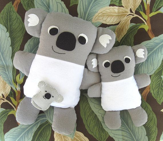 Sew a cute, cuddly Koala Mommy with Babies. Pattern includes 2 Baby options: smaller fabric baby similar to Mom or tiny felt baby that fits in