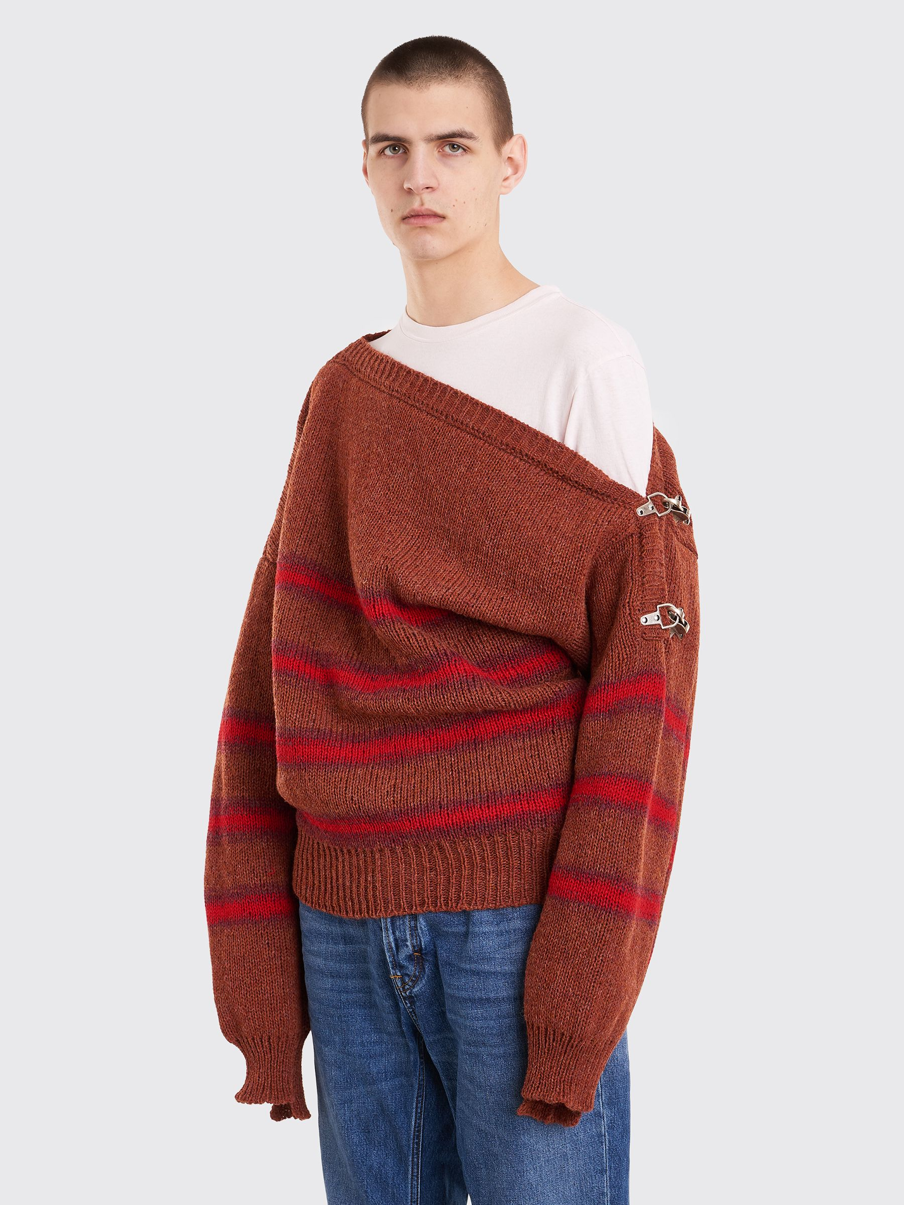 f6bbc05fda823e Raf Simons - Boatneck Sweater With Buckles Terra Wine | TRÈS BIEN ...