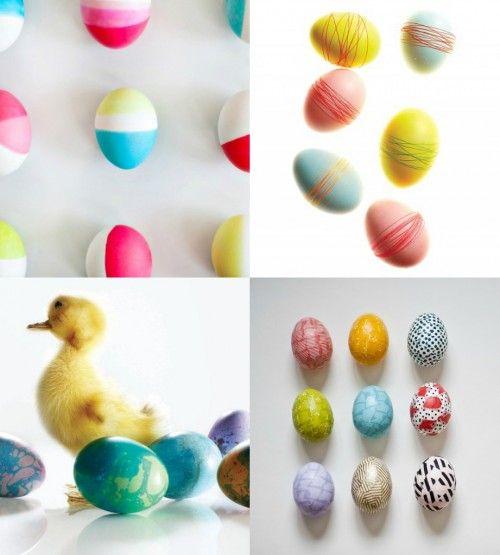 Bastelidee Ostern Ostereier färben