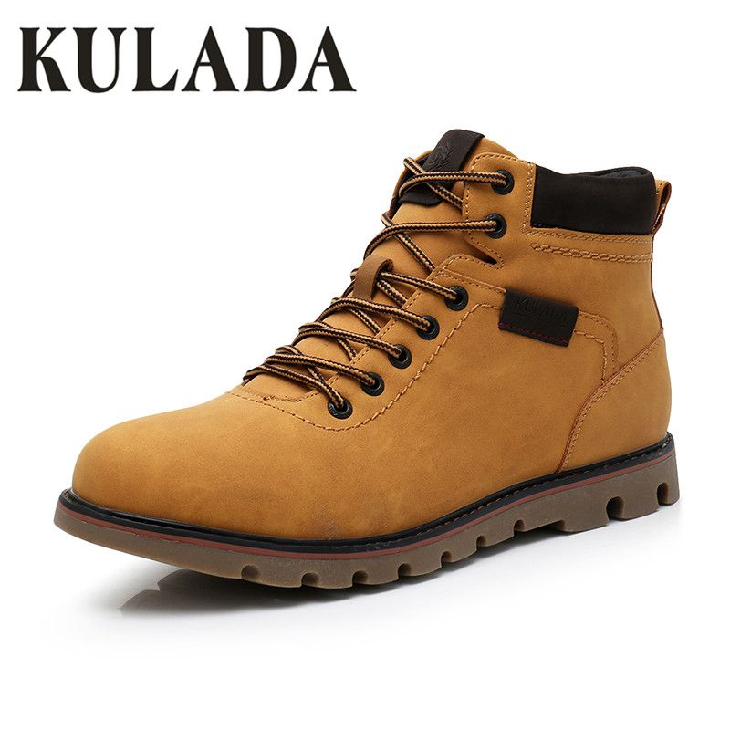 ca904641c87383 Find More Snow Boots Information about KULADA Newest Winter Shoes Men  Warmest Snow Boots Handmade Leather Men Casual Outdoor Work Boots Men High  Upper ...