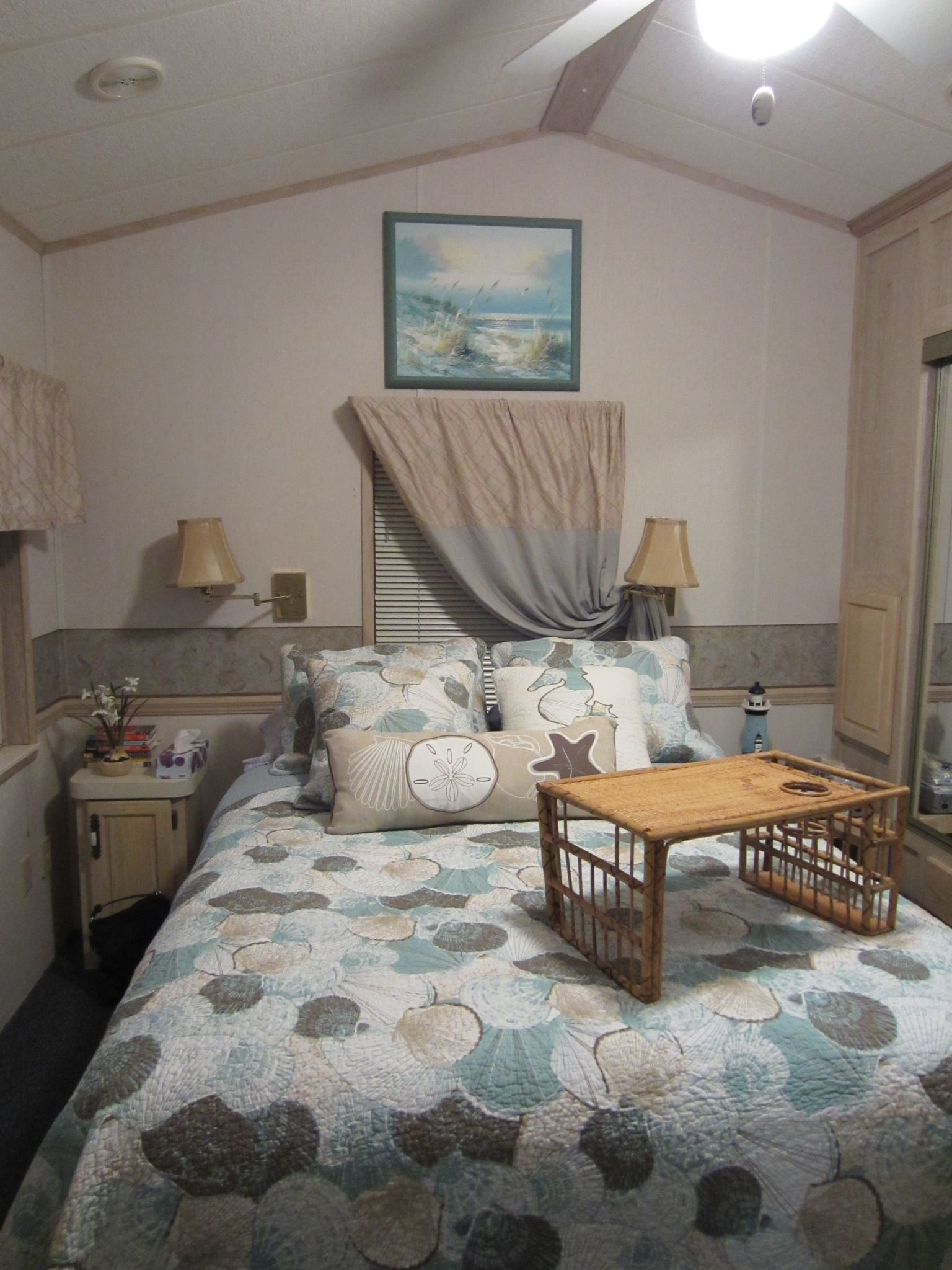 Our bedroom in our park model home in Florida.   Tiny ...