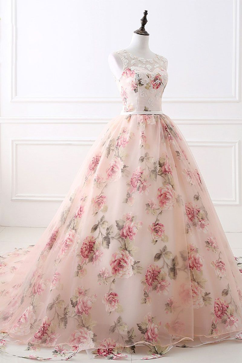 Unique round neck printing long prom gown, evening dress | Pinterest ...