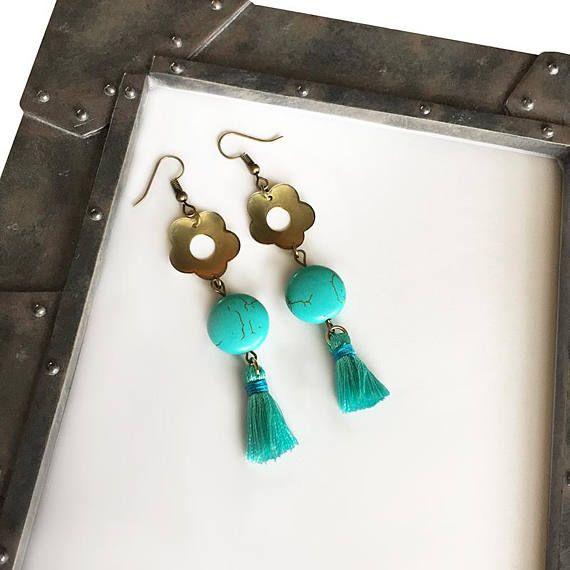 Turquoise earrings for women, Dangle Earrings, Boho earrings, Wife