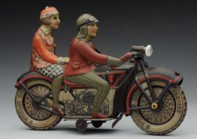 German Tippco Tin Litho Wind - Up Motorcycle Toy.