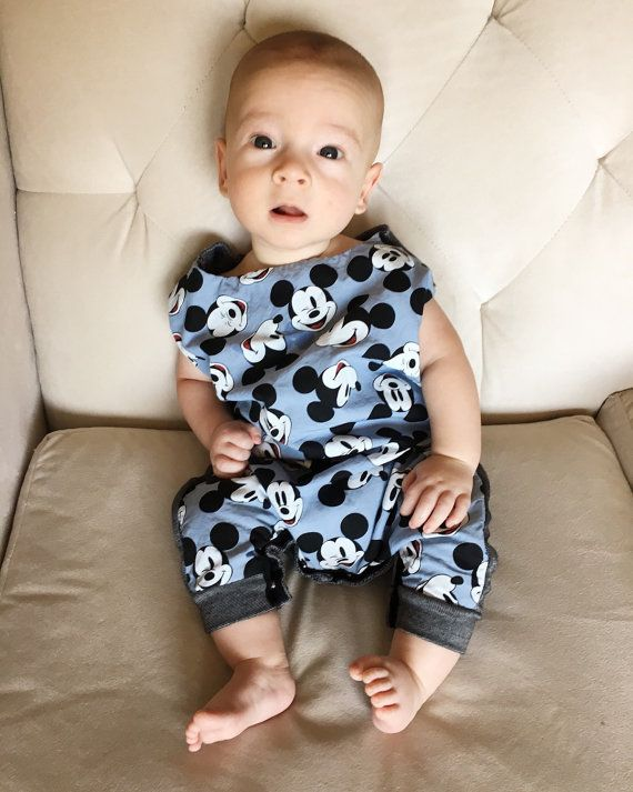 Mickey Mouse Blue Romper by TroisBeauxBebesShop on Etsy