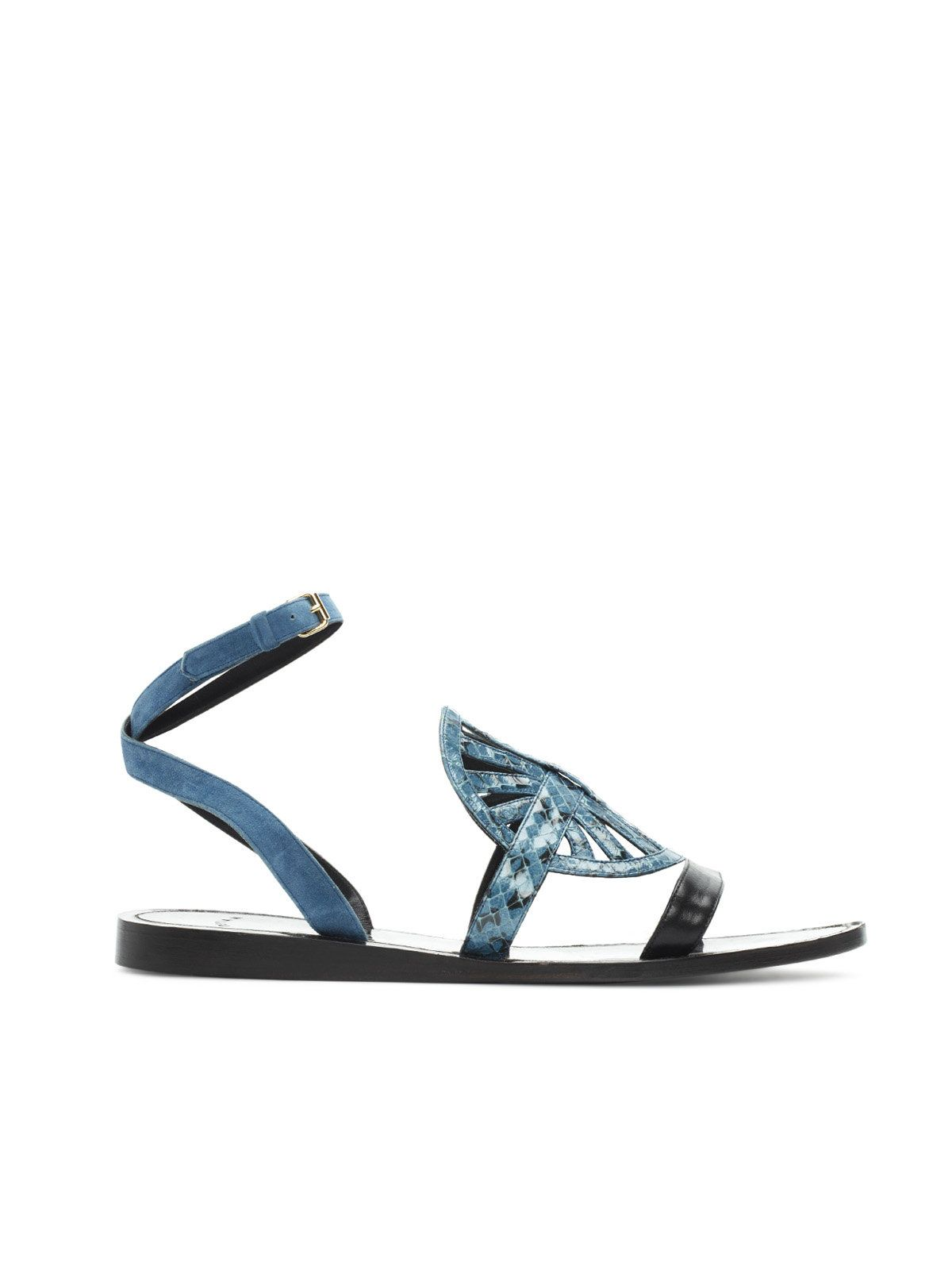 Disk Sandal -   Color block whip snake and smooth leather disk flat sandal with adjustable suede wrap ankle straps. $750