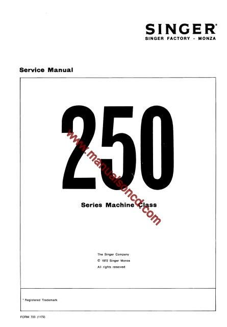 singer 250 series sewing machine service manual  covers