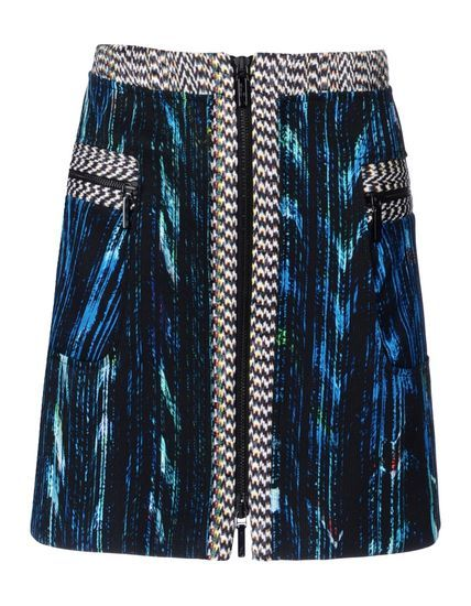 Jacquard Plain weave Logo detail Multicolour Pattern Zip Two front pockets Lined interior A-line style skirt.
