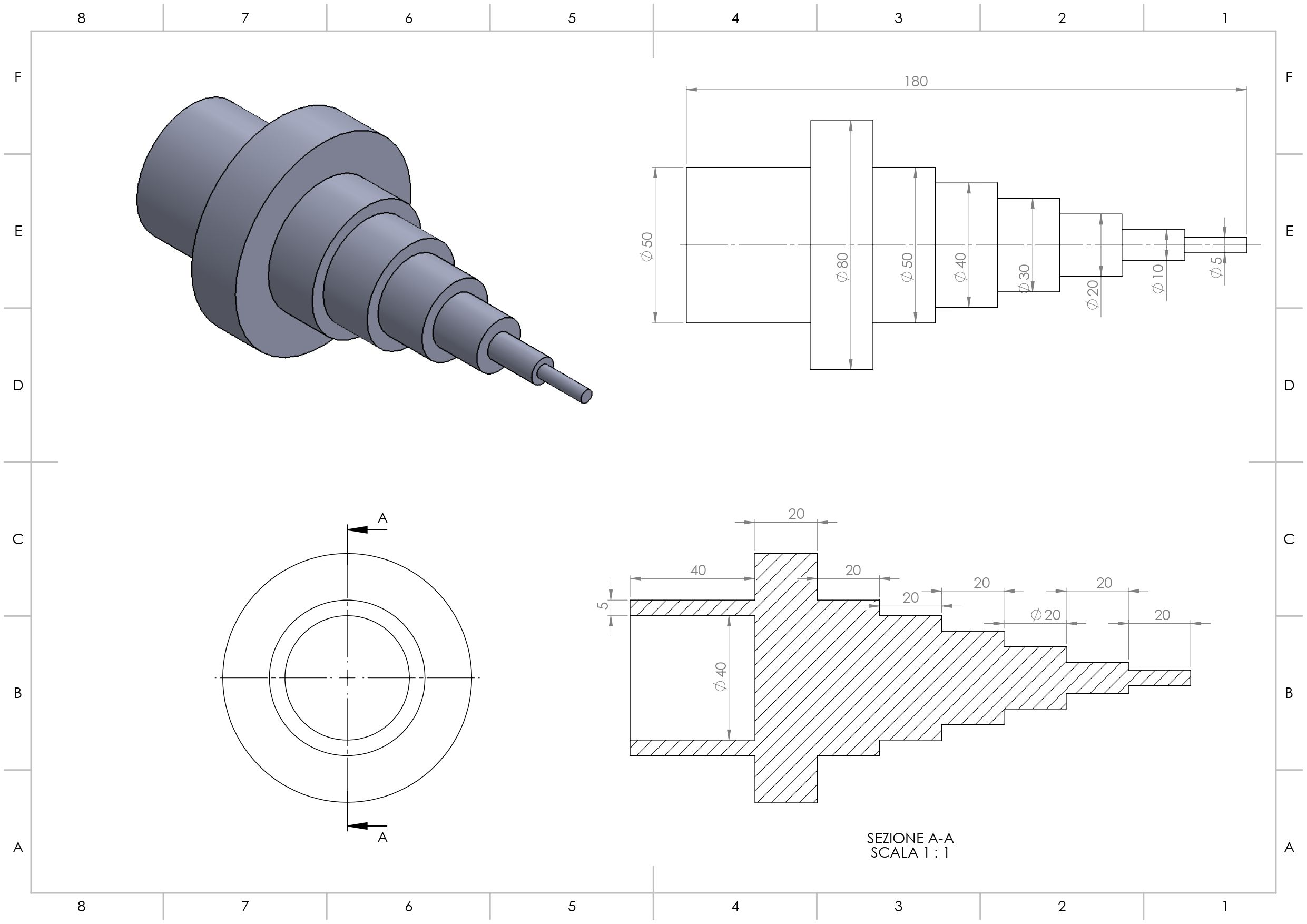 Solidworks Esercizio Pratica Disegno Meccanico In 2020 Mechanical Design Mechanical Engineering Design Solidworks