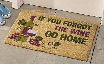 Forgot wine coco door mat if you forgot the wine go home for Wine cork welcome mat