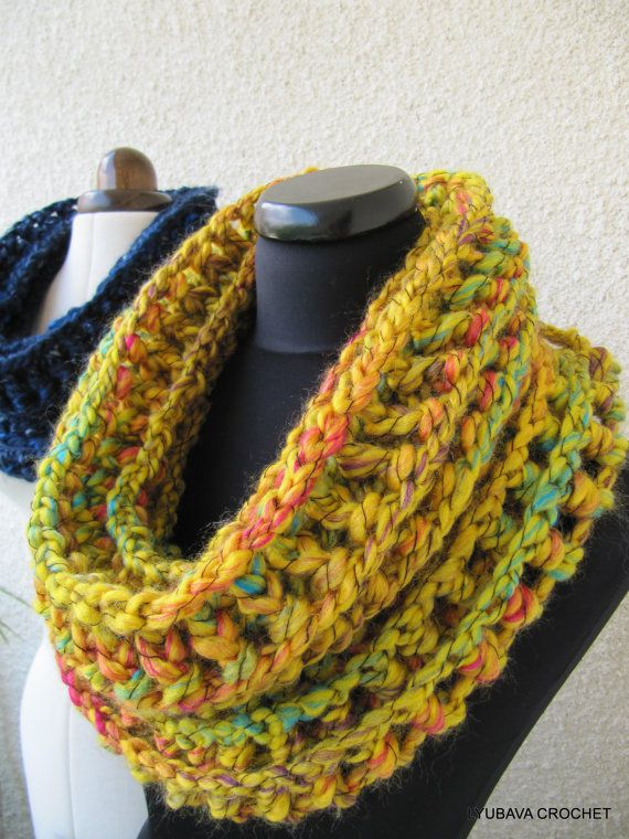Crochet Cowl Scarf Pattern Mustard Cowl Chunky Scarf Pattern Fast