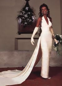 Wedding bride's outfit - Leo | Oksana Tamilina... African Supermodel Iman...The bride wore a longnarrow dress pearl color with a long train, By Herve Leger