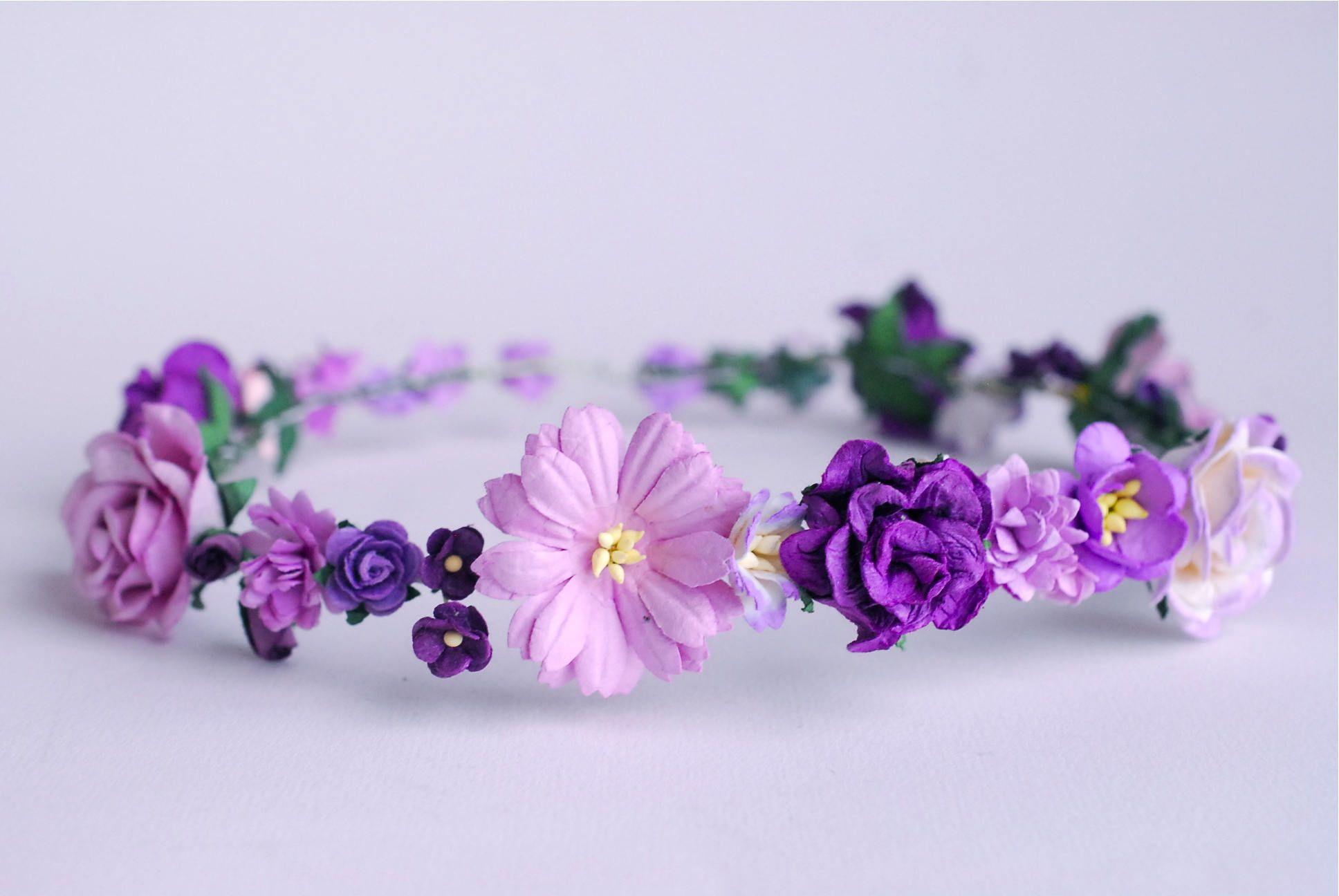 Paper Flower Bridal Flower Crown Headband Daisy Roses Cherry