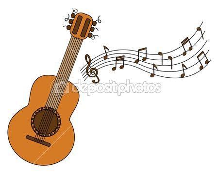 Dibujos animados de la guitarra acústica y partitura sobre un fondo ...