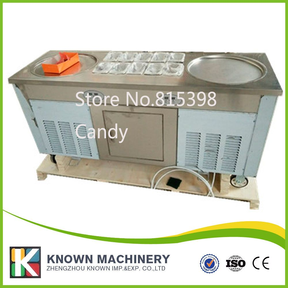 Fresh Keeping Refrigerator Under Topping Pans High Economic Fried Ice Cream Rolled Machine With Double Pan On Affiliate