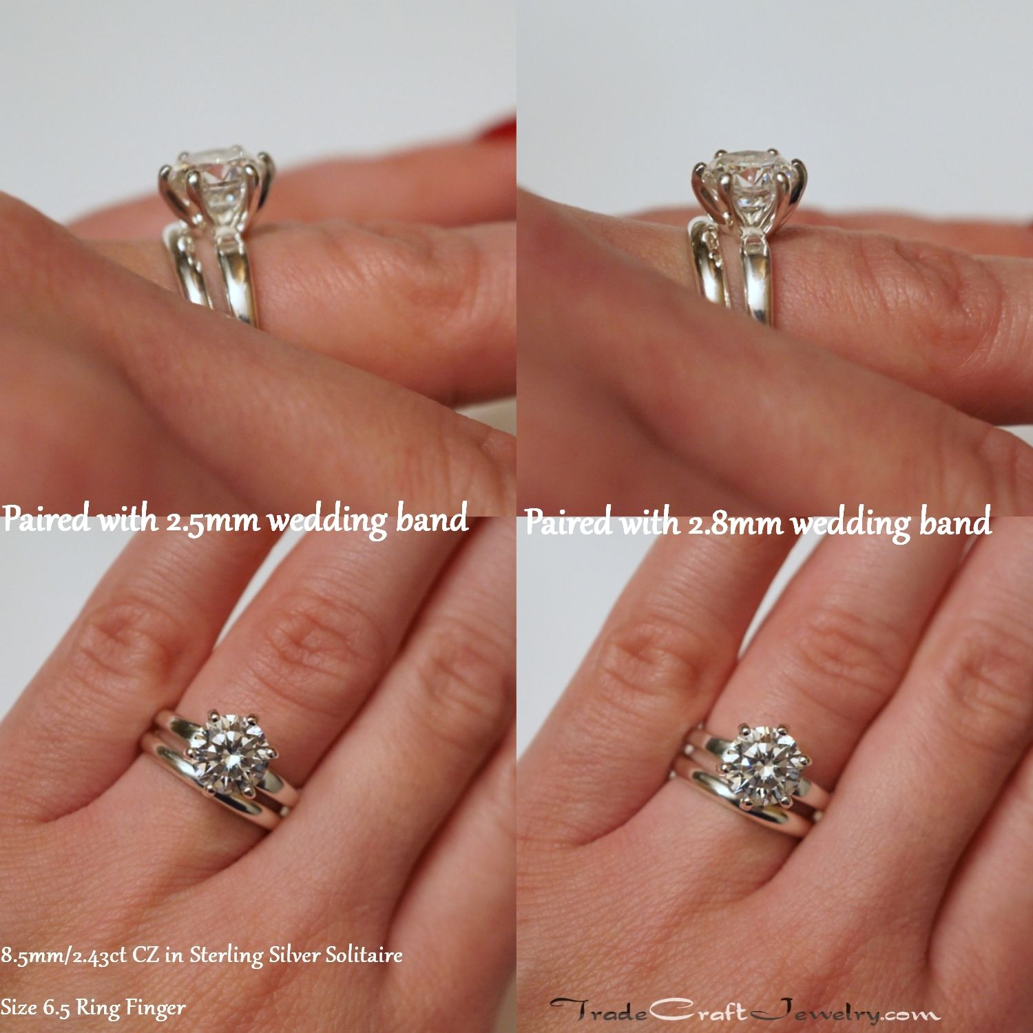 6 Prong CZ Engagement Ring Paired with 2 5mm or 2 8mm Wedding