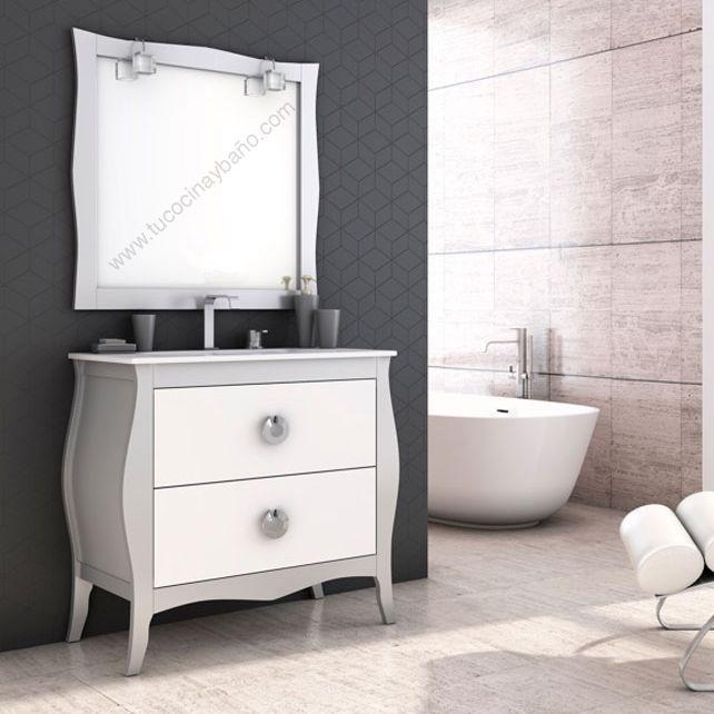 Mueble de ba o vintage mozart plata blanco mate bicolor for Mueble bano rustico blanco