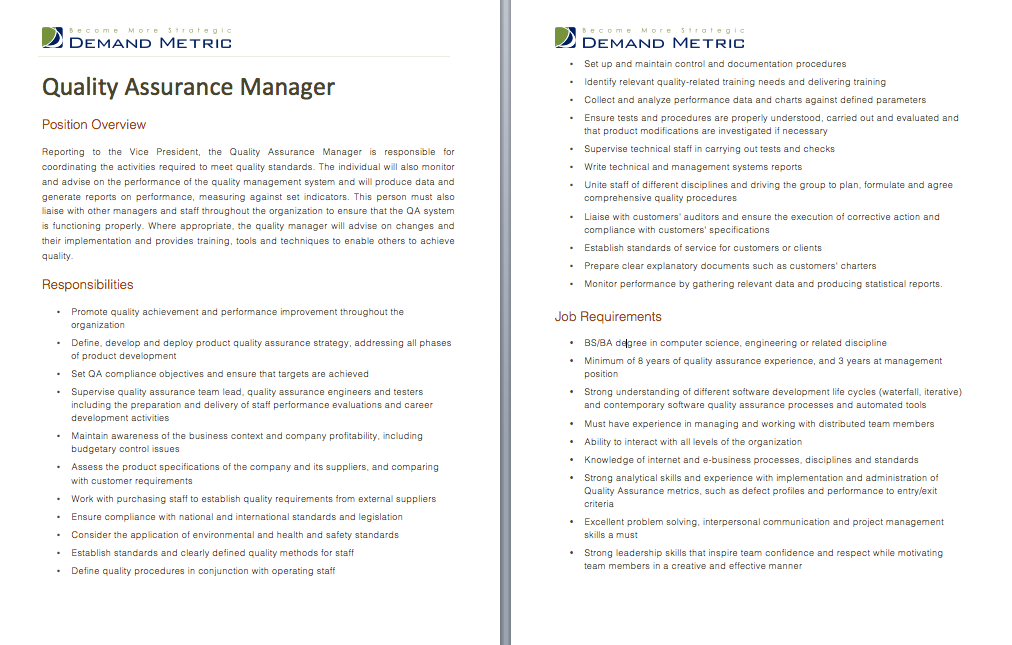 Quality Assurance Manager Job Description  A Template To Quickly