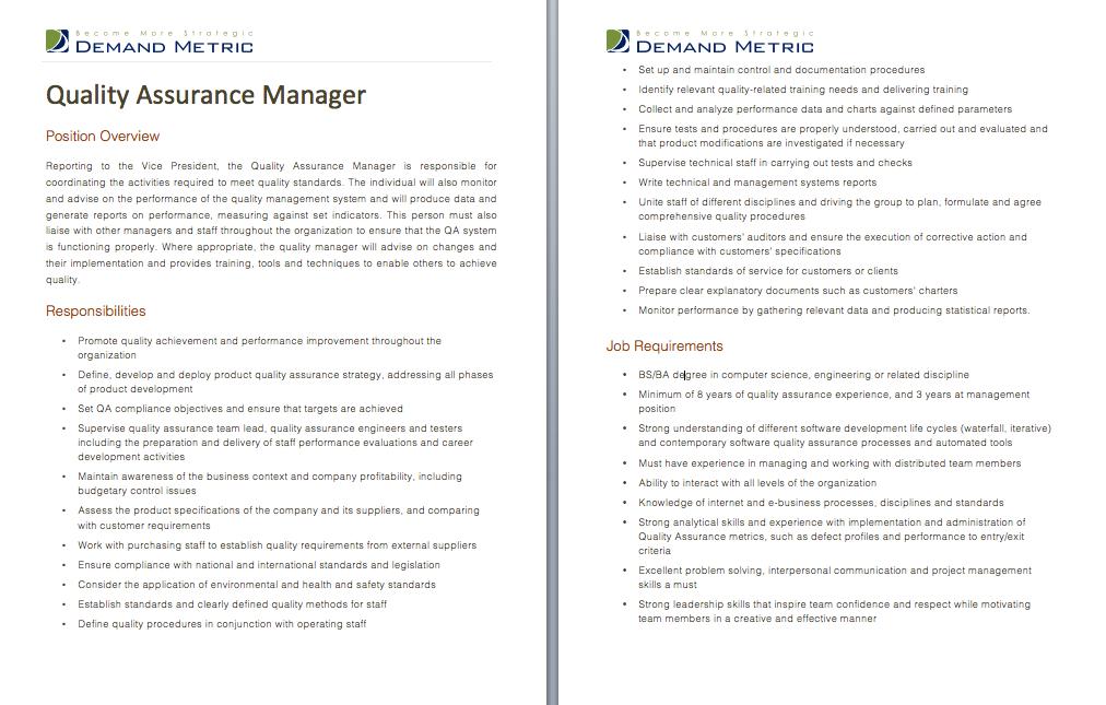 Quality Assurance Manager Job Description A template to