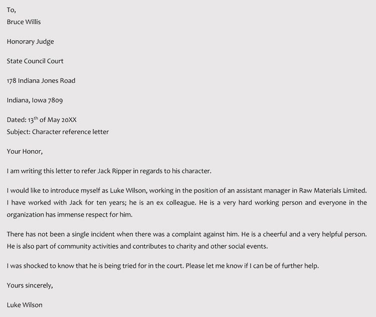 Character Reference Letter For Court Samples Templates