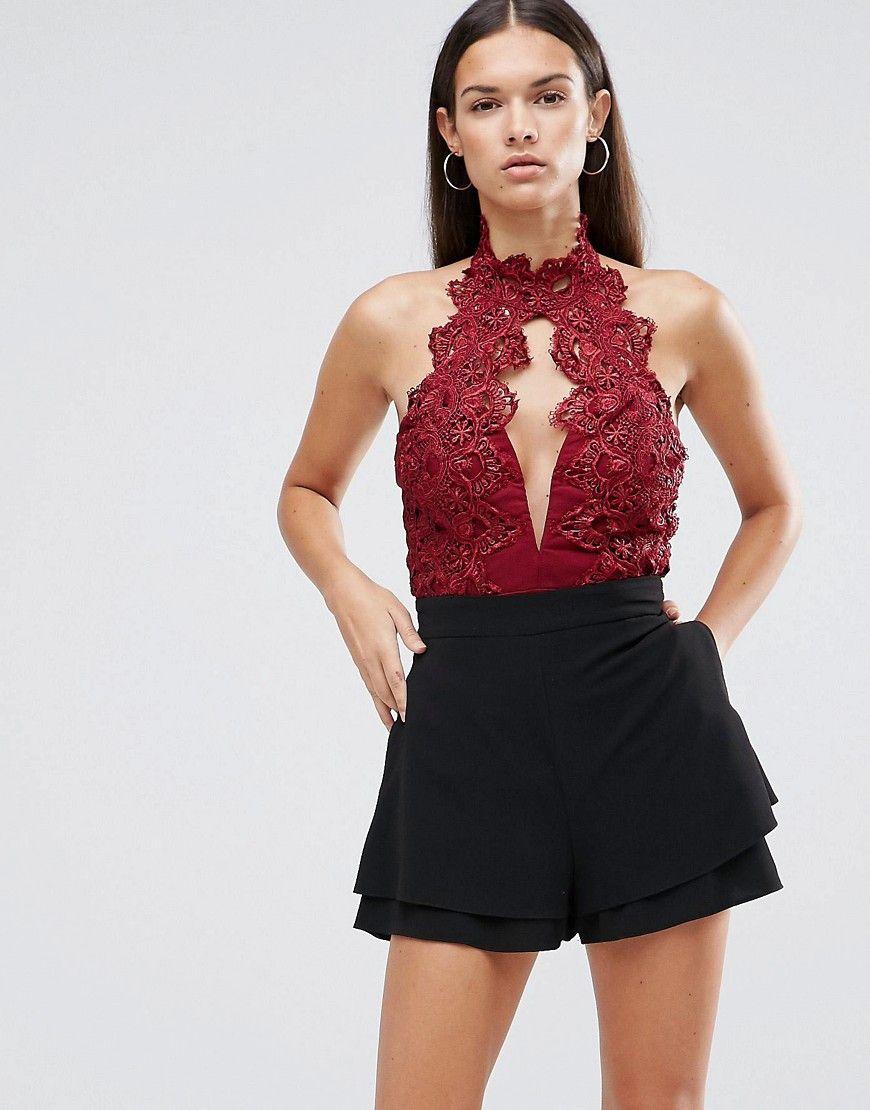 Lace bodysuit high neck  RareLondonHighNeckBodysuitWithCutworkLace  Clothes