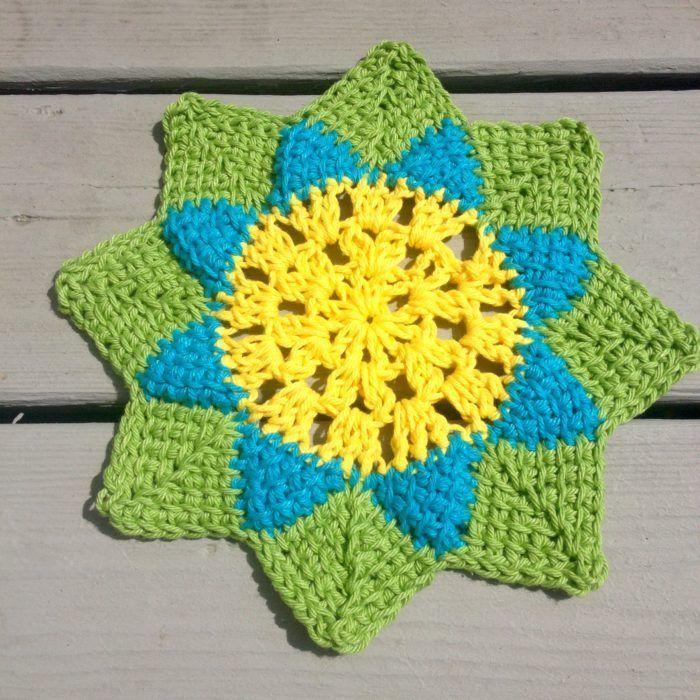 Spring Flower Dishcloth Free Tunisian Crochet Pattern Tunisian
