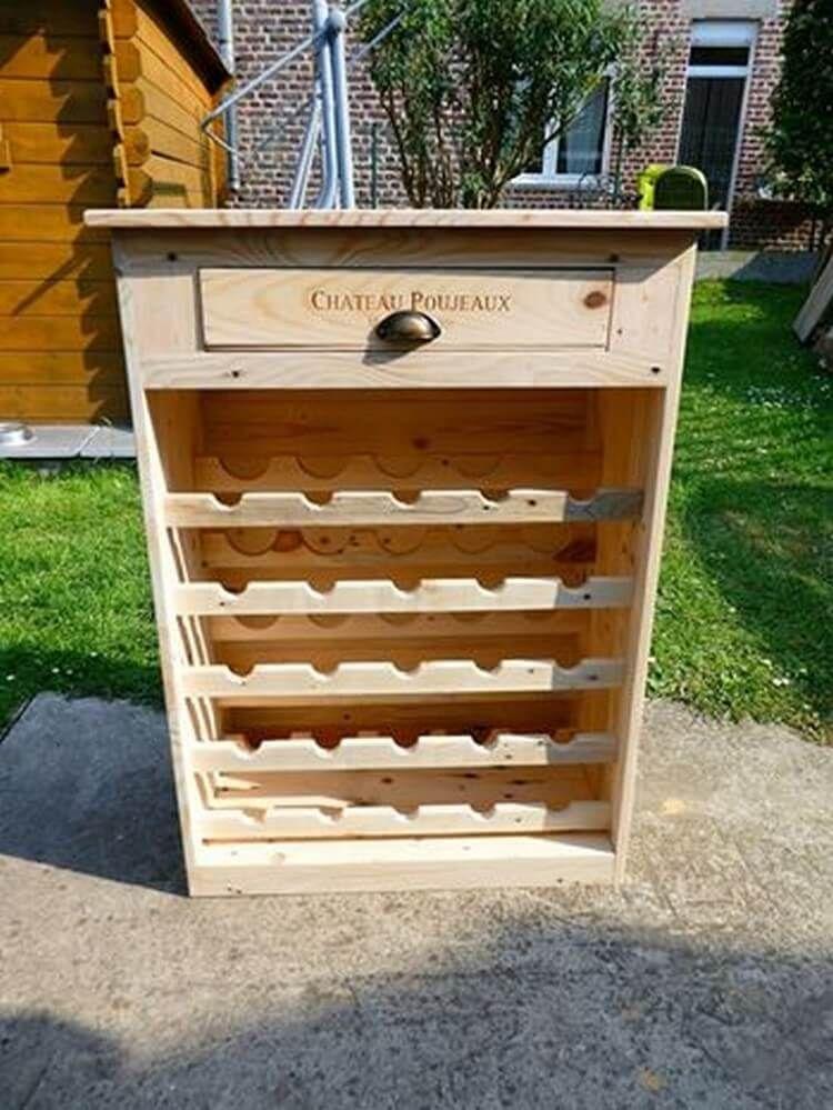 Diy recycling paletten weinregal mit schublade diy pallet pallet furniture und diy - Paletten weinregal ...