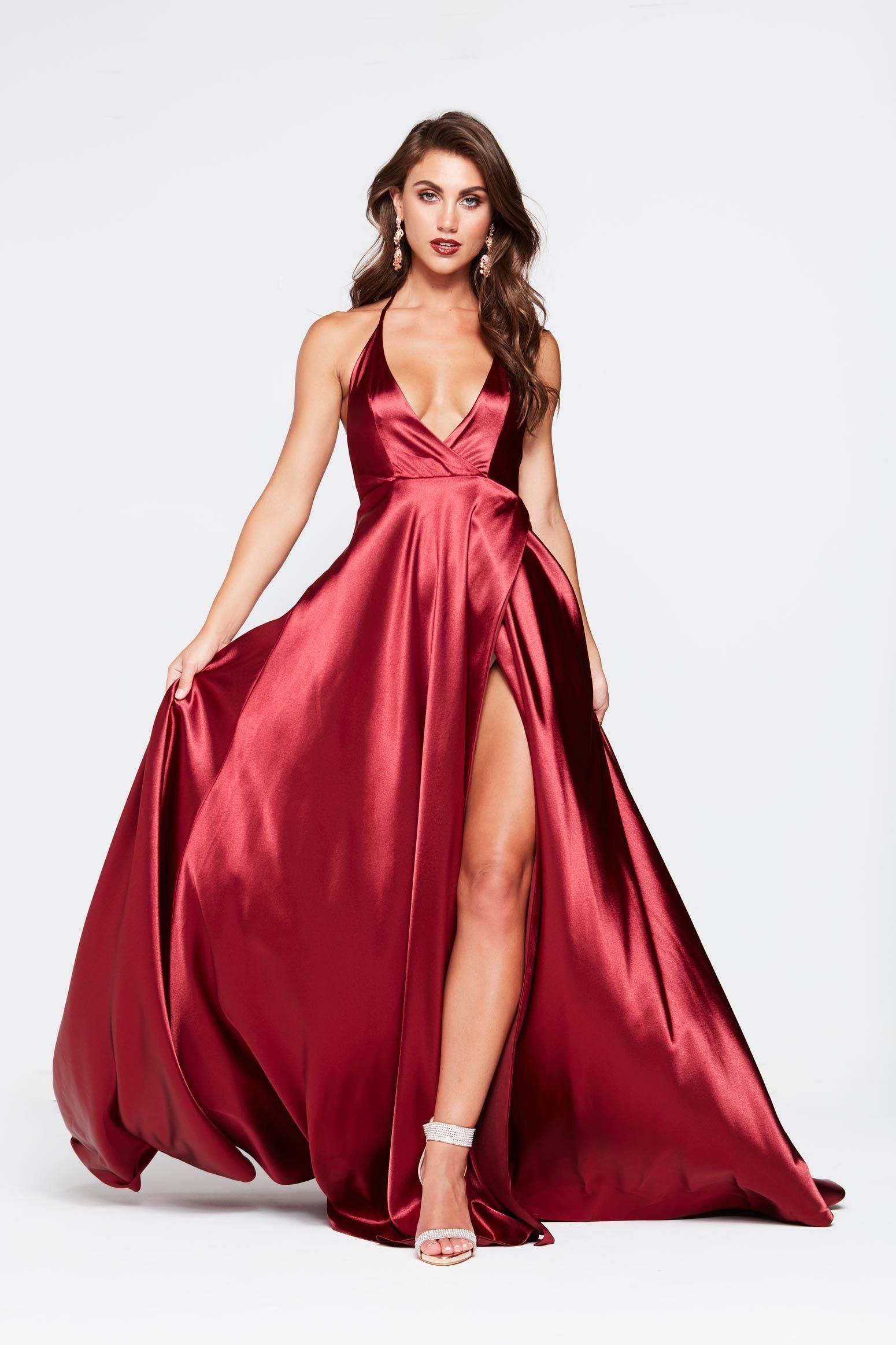 25+ Burgundy satin dress prom inspirations