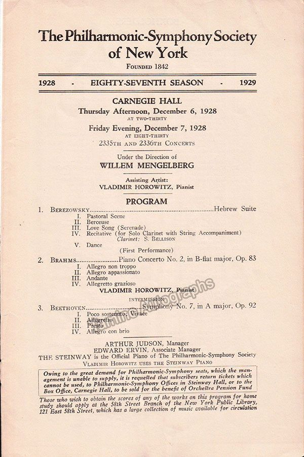 Horowitz Vladimir  Concert Program  With Ny Philharmonic