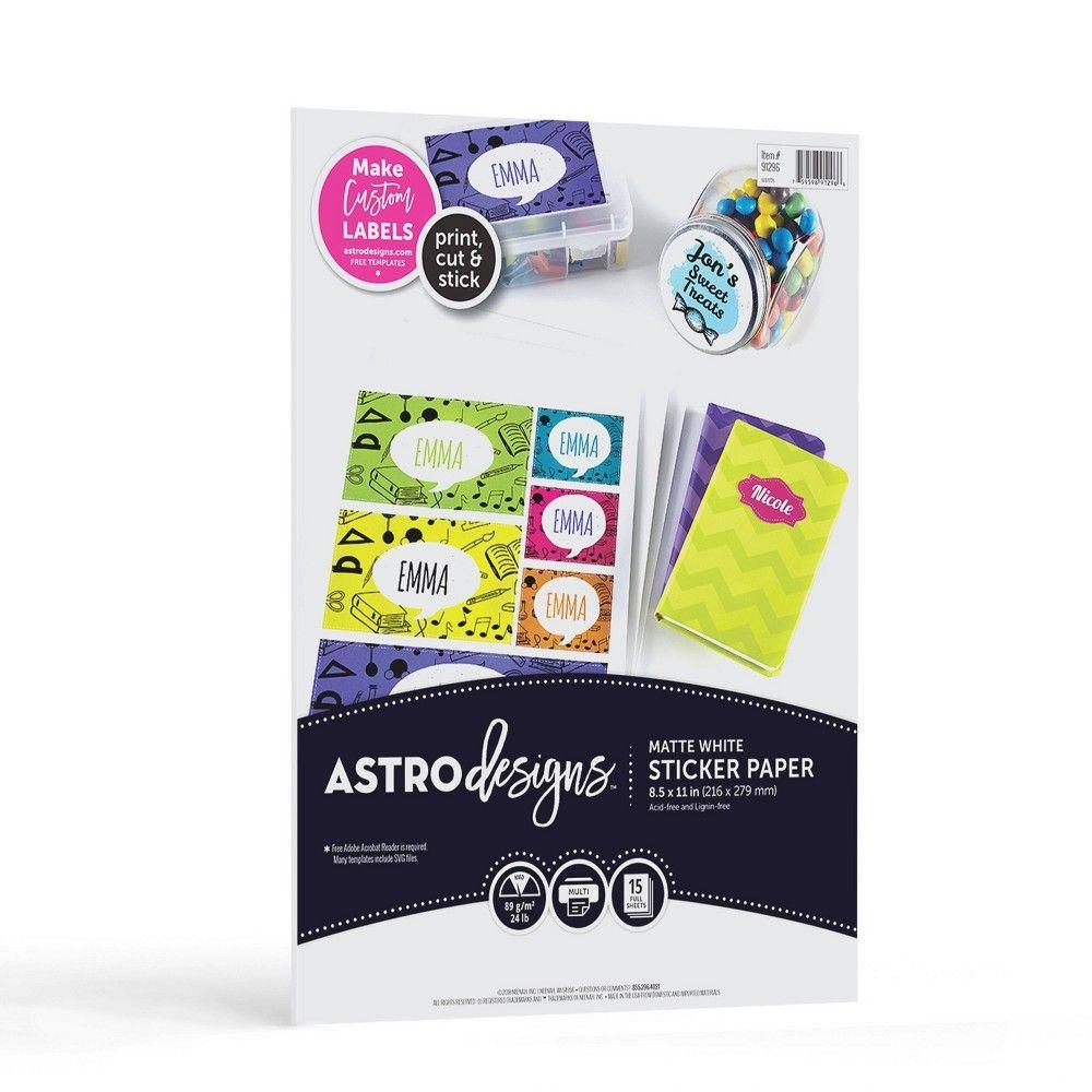 15ct matte sticker paper white astrobrights matte