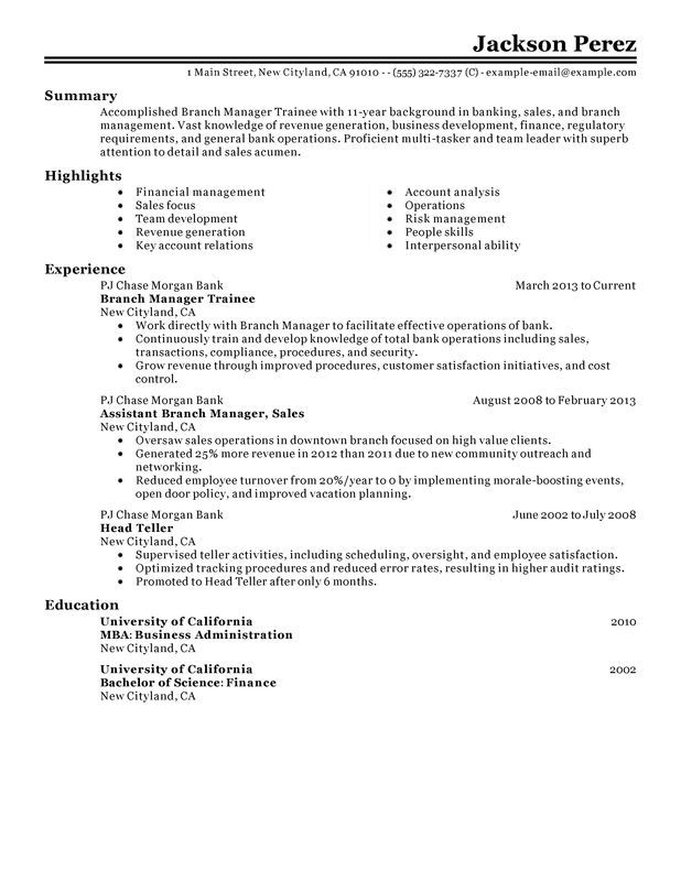 Myperfectresume Com Unforgettable Branch Manager Trainee Resume Examples To Stand Out Ca646d31 Resumesample Resumefor