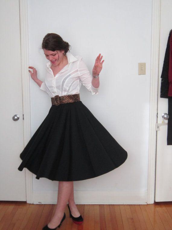28e59cac24 Black Full Circle Knee length Skirt Made to Order by Retrospectiff, $59.00