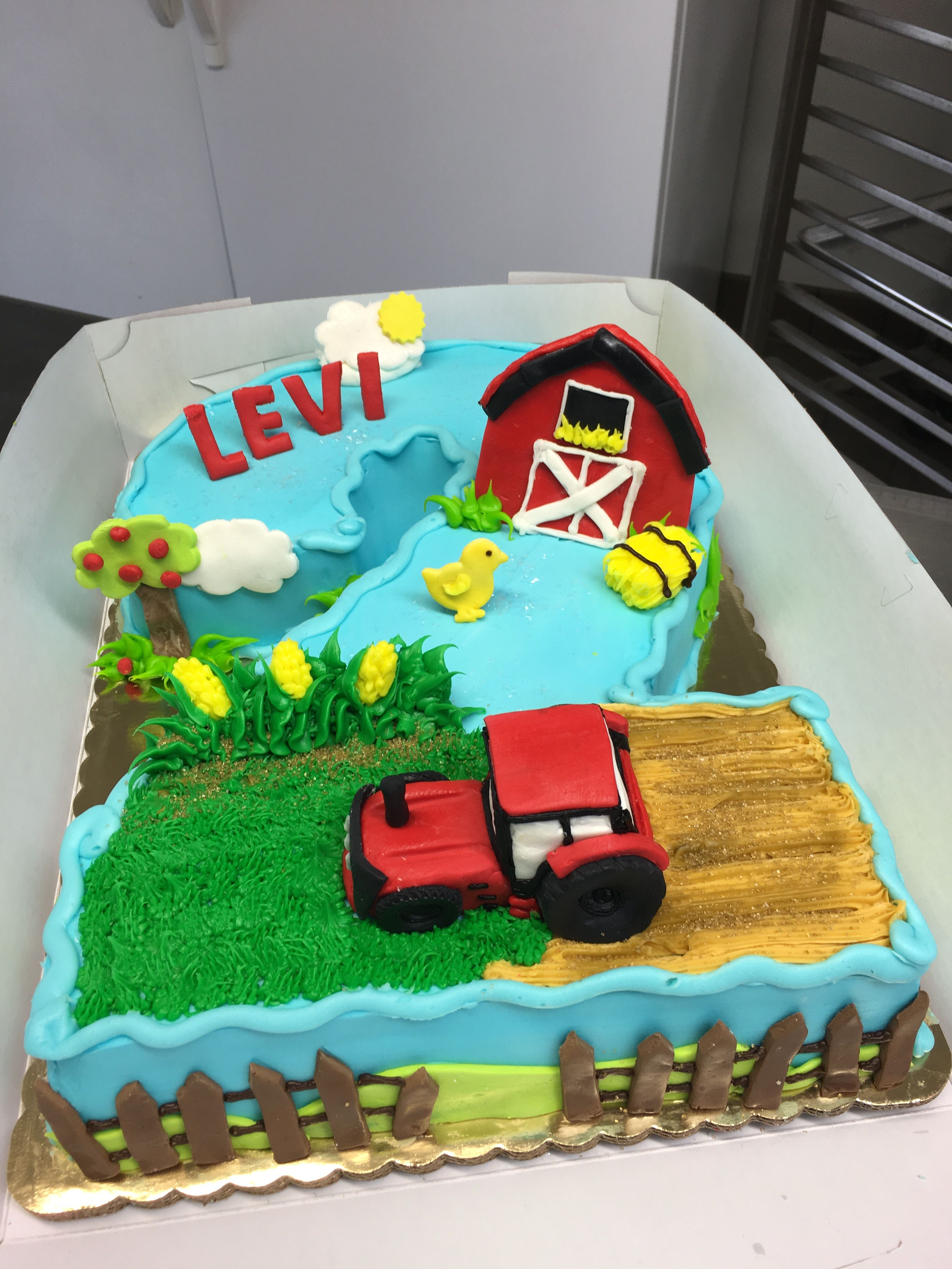 Red Tractor Second Birthday Cake Shaped Numberkes Pinterest