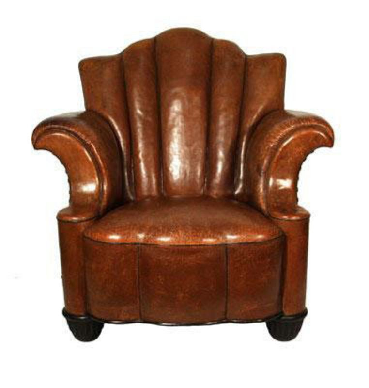 Fabulous Art Deco Leather Club Chair H33636675 For Sale Antiques Com Classifieds Leather Club Chairs Art Deco Art Deco Style Furniture