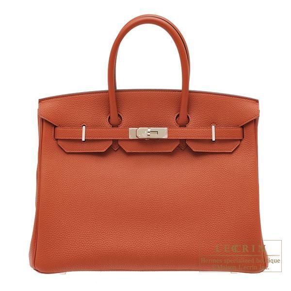 Hermes Birkin bag 35 Brique Togo leather Silver hardware