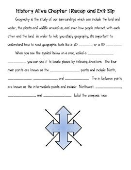 This is a graphic organizer and exit slip intended for use