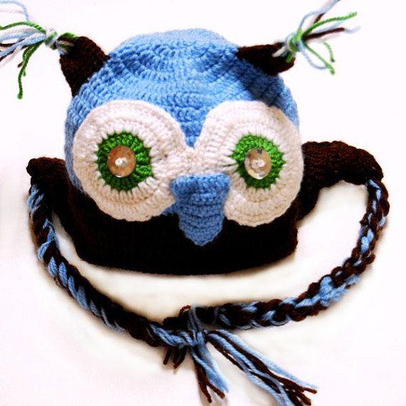 Hat owl crochet children hat handmade by Danfe on Etsy, $25.00