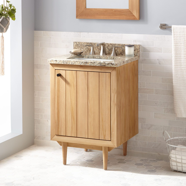 24 Osa Teak Vanity For Rectangular Undermount Sink Natural Teak Bathroom Vanities Bathroom Teak Vanity Vanity Cabinet Teak Bathroom Vanity