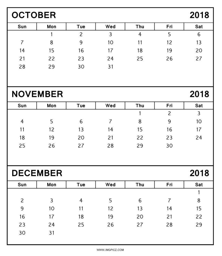 October November December Calendar 2018 | October 2018